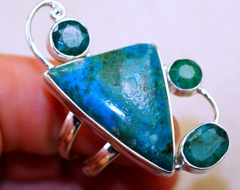 Wonderful Azurite with Emerald & 925 Sterling Silver Ring size 9.5