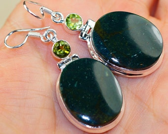 Trendy Green Moss Agate with Peridot & 925 Sterling Silver Earrings by Silver Trend