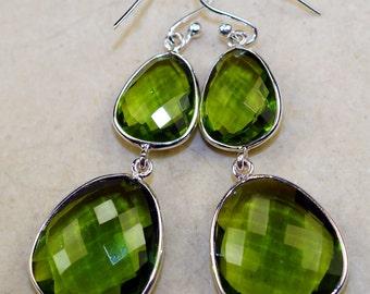 Dazzling Green Quartz   & 925 Sterling Silver Earrings