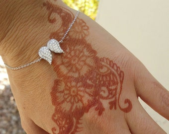 925 Sterling Silver and Cubic Zirconia Angel Wings Bracelet, Trendy Bracelet, Statement Bracelet