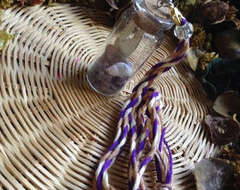 Amethyst filled Glass Vial Pendant #1