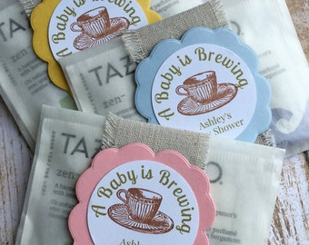 "8 ~ Baby Shower Favors, Baby Sprinkle Favors, Baby Shower Tea Bag Favors, ""A Baby is Brewing"" Favors, Glassine Bags"