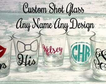 Personalized Shot Glasses, Custom Bridesmaid Gifts, Monogram Shot Glasses, Shot Glasses, Shot Glasses for Women, Groomsmen Gifts