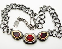 YSL  Vintage Choker Necklace Haute Couture Red Rhinestones Gun Metal Grey Gold Tone Signed