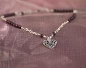 RESERVED for Jocelyn: Garnet Stone Anklet, Handmade Anklet, Anklet with Filigree Heart Charm