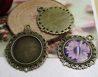 10pcs 20mm Antique Bronze Round Cameo Cabochon Base Setting-b2123