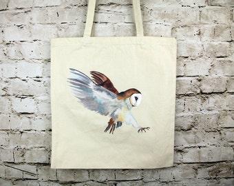 Flying Barn Owl Tote Bag