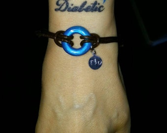 Diabetes Bracelet-Type One Diabetic or Type 2 Diabetes Jewelry-Universal T1D Symbol-Blue Circle Symbolizing Diabetes Custom HandStamped Tag
