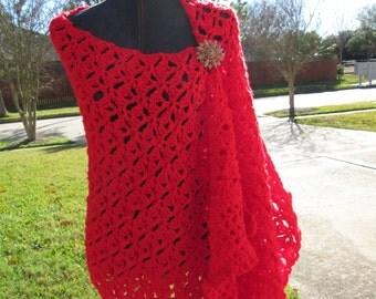 Crochet Shawl: Emerald Lace Fling Wrap