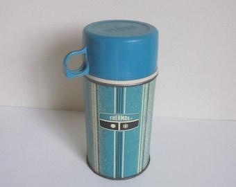 Vintage Atomic Aqua Lunchbox Thermos, Vintage Mid Century Aqua Thermos with Cup