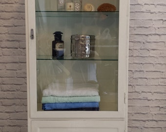 Vintage steel&glass medical cabinet