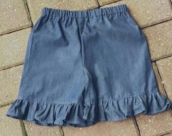 Girls Ruffle shorts, Ruffle shorts, Denim shorts, girls denim shorts, denim ruffle shorts