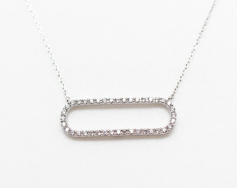 Oval Cubic Zirconia Silver Necklace