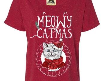 Funny Christmas Shirt, Funny Cat Shirt, Funny Christmas Cat Shirt, Meowy Christmas Shirt, Funny Cat Tee, Ugly Christmas Shirt