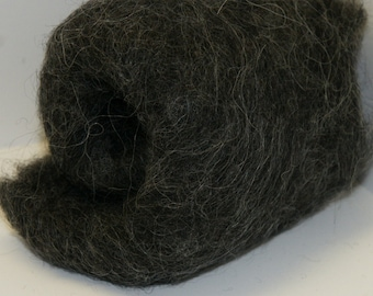 Carded Wool Fleece Two Ounces for Felting - Stone Sheep Gray