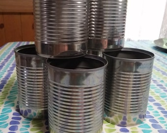 Tin cans, project supplies, creative container