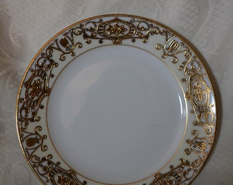"Noritake  175 ""Christmas Ball"" Pattern Salad Plate - 16034 Green Mark"