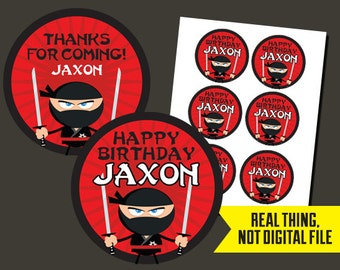 NInja Stickers - Ninja Birthday - Ninja Thank You Stickers