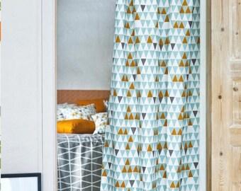 Orange Curtain | Turquoise Curtain | Triangle Print Curtain | Modern Curtain  | Window Curtains |