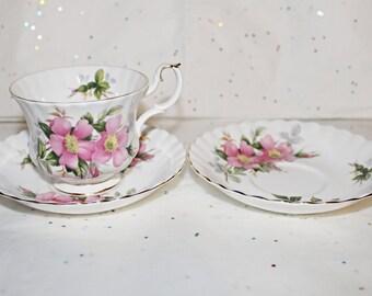 Pretty Royal Albert Prairie Rose Teacup, Saucer plus extra Saucer Nice Condition