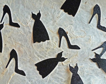 Little Black Dress & Heels Confetti - Black Glitter Confetti for Bridal Showers Bachelorette Parties Girls Night Dinner Table Confetti
