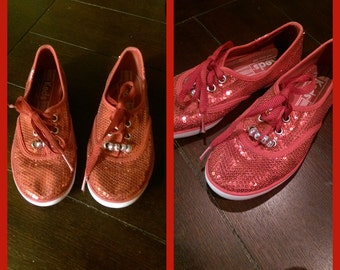Ruby Red Sequin Keds Tennis shoes girls size 1