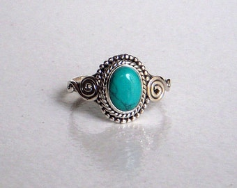 A Sterling (92.5.5) Silver Ring / Turquoise Stone Silver Ring / Hand made Silver Ring / Statement Ring  / Ring Size 4,5,6,7,8,9,10,11.