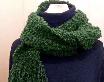 Very Long Hand Knit Scarf Olive green