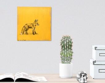 Fox drawing - Black and white print on wood, Fox wall art print,  Dorm wall art, Nature wall decor, Art & collectibles, Shabby chic