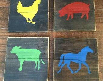 Farm animal signs, hand painted wood, kids, nursery, rustic wall hanging