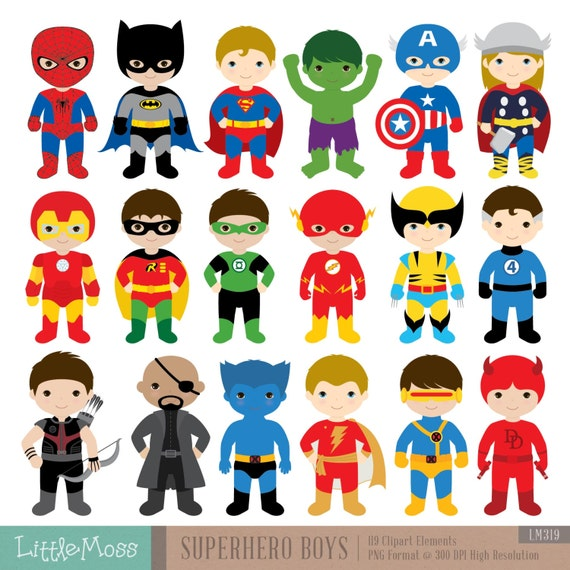 Superhero Art For Little Boys: 18 Boys Superhero Costumes Clipart Superheroes Clipart