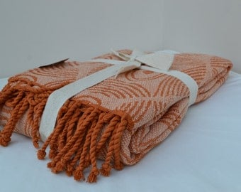 Orange 100% Cotton Chenille Throw with Tassels - 160cm x 130cm