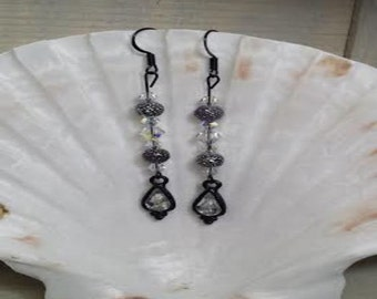 Black and silver rhinestone earrings (ER009)