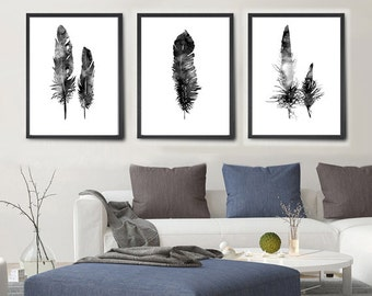 Feather Print Set, Feather Art, Feather Watercolor Painting, Feather Wall Art, Feather Home Decor (216)
