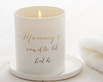 Personalised Glow Through Candlelit Bath Candle, Candle, Scented Candle, Gift for Mum, Birthday Gift, Bath Candle, Name Candle, White Candle