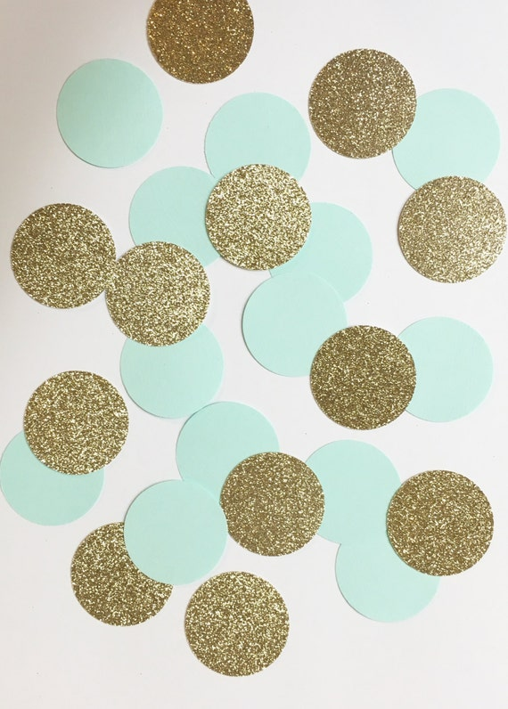 Aqua+Glitter Gold confetti//confetti, party supplies, birthday party decorations, wedding decorations, decor, baby shower