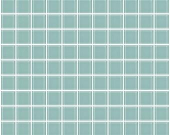 1-inch light aqua blue glass tile (J1905)