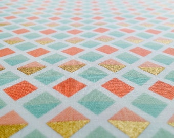 Coral and Mint Geo Diamonds Fabric - Modern Premium Nursery Quilt Cotton with Metallic Gold Accent by the Yard