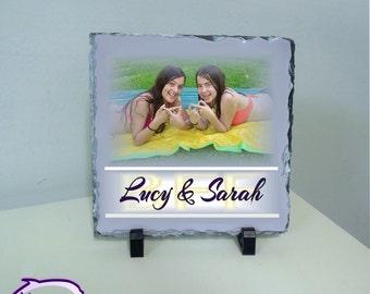 "Friendship gift, Best Friends gift, Personalized friendship 8""x 8"" stone photo plaque"