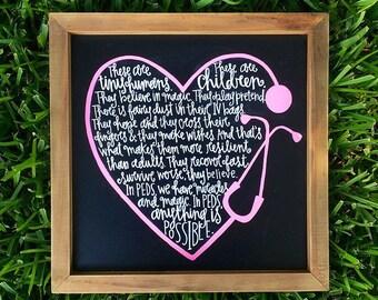 15x15 Chalkboard sign for PEDS Nurse