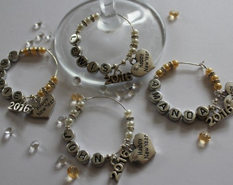 Personalised - New Years Eve Party wine glass charms / keepsake