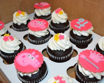 Peppa Pig cupcake topper, Peppa Pig party, Peppa Pig cake