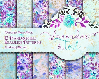 Lavender and Teal Digital Paper Pack Watercolor Summer Fashion Printable Handpainted Seamless Patterns Purple Mint Turquoise Gold Glitter