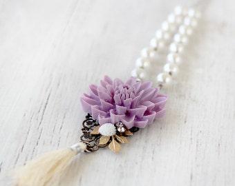Tassel Necklace - Boho Beaded Tassel Necklace - Mothers Day Gift - Gift for Mom - Bohemian Tassel Jewelry - Tassel Jewelry Necklace