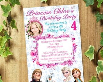 PRINTED & DELIVERED: 20 Personalized FROZEN Birthday Party Invitations Invites with Photo + Envelopes. Design 2