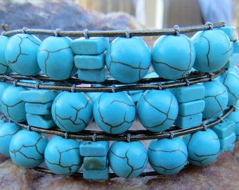 Beaded 3 Wrap Bracelet with Turquoise Circles & Squares
