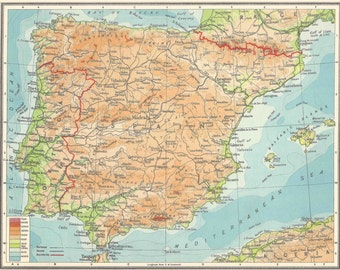 Spain and Portugal 1950s travel Barcelona Valencia Madrid for home decor Vintage Prints old maps