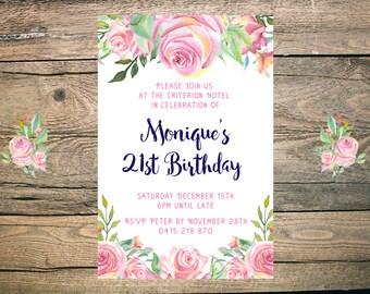 21st Birthday Invitation - Printable - 6x4 - 5x7 - JPG - PDF - pink, floral, navy, pretty
