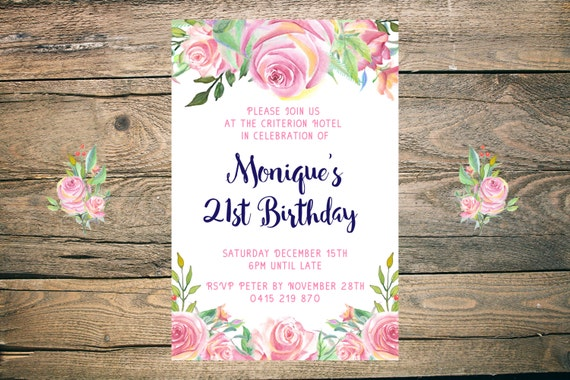 21st Birthday Invitation - Printable - 6x4 - 5x7 - JPG - PDF - pink, floral, navy, pretty