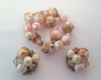Vintage Haskell Style Pink and Cream Faux Pearl Bracelet and Earring Set 0447